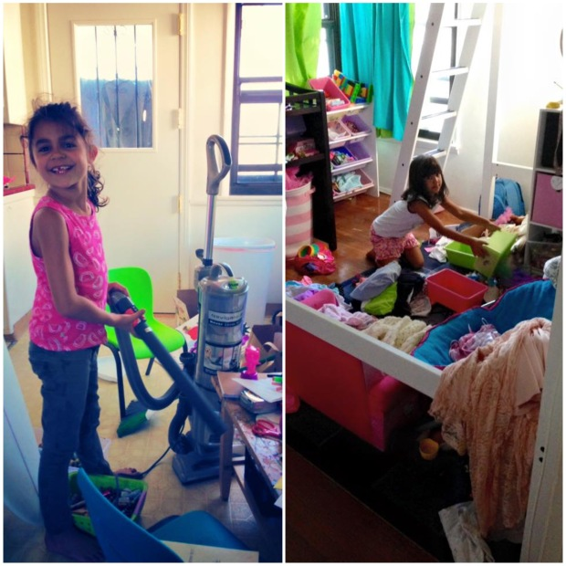 Our older kids cleaning and re-organizing.